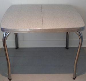 c.  CHROME Dining Table Abstract Antique Vintage