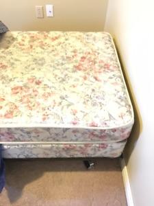 single box spring, mattress, and metal frame