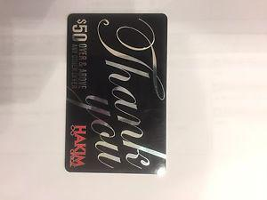 two 50$ hakim optical gift cards