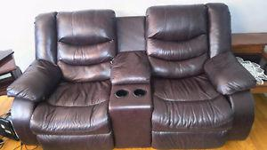 2 recliner couch with center for coffee