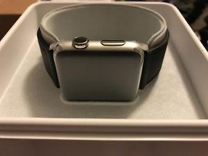Apple Watch 42mm stainless steel original black leather