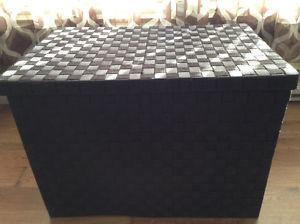 Brown weaved storage bin with lid