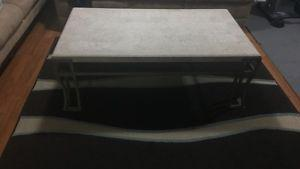 Marble rectangular coffee table with rug