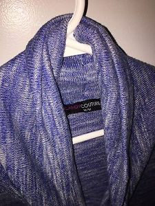 Size medium ladies top- blue and white cowl/swoop neck top