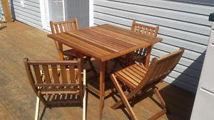 SolidTeak Folding Table and Chairs