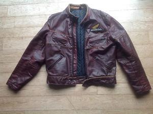 Vintage Hondaline Motorcycle Leather Jacket and Pants
