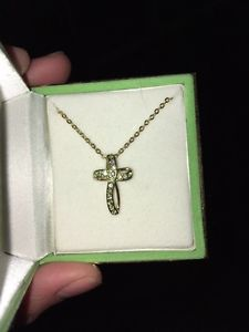Wanted: 18k Gold and Australian Crystal Cross necklace