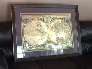 Double hemisphere gold foil world map 32 x 42 posot class double world hemisphere map bombay company gumiabroncs Images