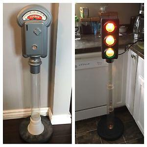 Parking meter and street light piggy banks.