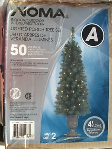 "Set of 2 (4"") lit indoor/outdoor potted Christmas trees"