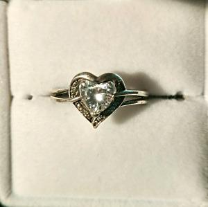 White Topaz Heart Ring with Diamond Accents in Sterling