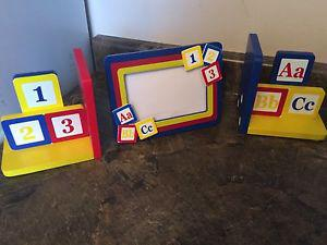 ABC 123 matching bookends & picture frame set