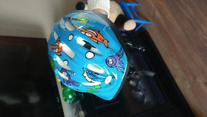 Blue kids bike helmet