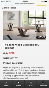 Coffee and end tables - New