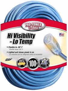 Coleman Cable 100-Foot Hi-Visibility/Low-Temperature Outdoor