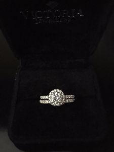 Halo engagement ring and matching wedding band