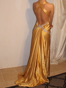 Paris Tony Bowls Prom Dress - Gold Formal Gown - Size 2