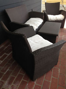 Patio Set - couch, 2 chairs, coffee table, and off white