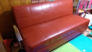 Red Davenport/futonish couch