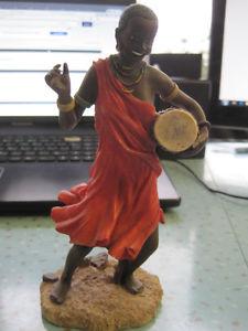 "Vintage Black Lady Dancer with Drum Resin 7"" Statue"