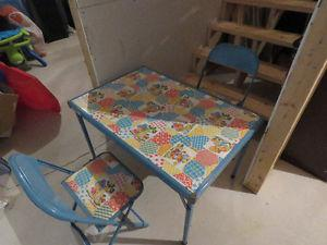 Vintage Foldable Chrome Children's Table and Chairs