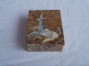 Vintage Granite Trinket Box with Mother of Pearl