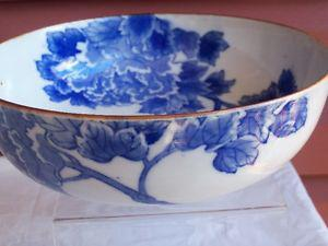 Vintage Pottery Bowl with Blue flowers!