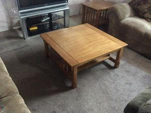 Wood Coffee and 2 End table set