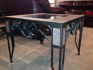 3 peice iron end tables & coffee table