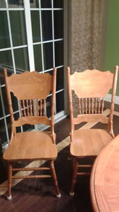 4 SOLID OAK CARVED HIGH-BACK DINING CHAIRS