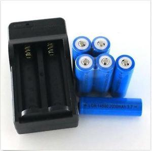 Batteries and Charger 6 x 3.7V AA Rechargeable Li-ion