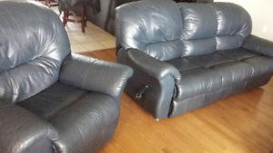 Blue Leather Sofa and Chair