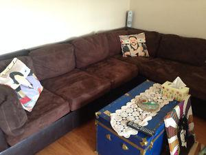 Brown and Pleather Sectional