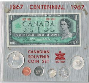 Canadian Souvenir Coin Set + one dollar bill