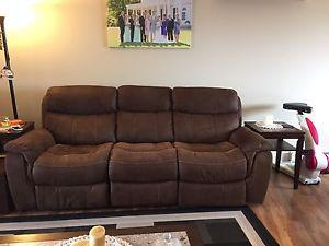Microfibre Saddle Brown Reclining Sofa and Chair