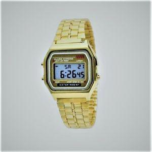 New Retro 80s Gold Colour Digial Watch, Water Resistant