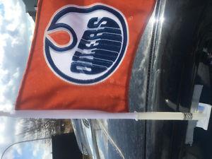 Oilers orange car window flags