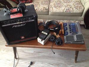 Peavey Amp, Digitech Pedal, guitar holder, metronome and