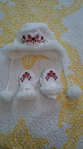 Perfect little hat and mittens for baby girl