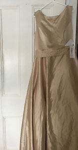 Stunning champagne silk custom wedding dress NEW WITH TAGS