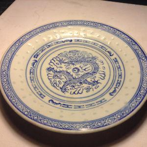Vintage Blue and White Porcelain Chinese Rice Eyes Dragon