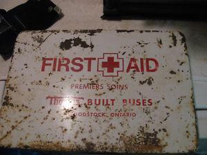Vintage Thomas Built Bus First Aid Metal Box