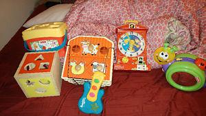 WOODEN SHAPE SORTER&FISHER PRICE AUNTIQUE CLOCK N MORE