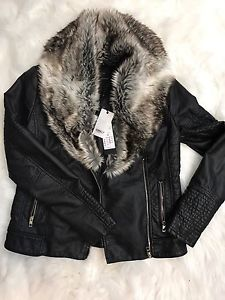 Women's faux leather with fur trim