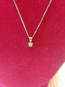 14 kt Gold 18 Inch Necklace & Diamond Pendant