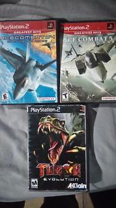 3 PS2 Games Ace Combat 4 Ace Combat 5 Turok Evolution $30