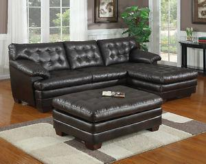 Couch with chaise lounge and ottoman