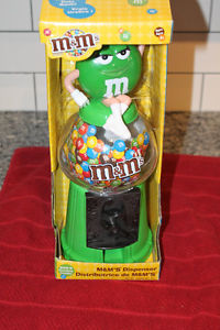 "M&M 12"" Green Lady Candy Dispenser Coin Bank Machine NIB"