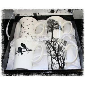 "McIntosh Fine Bone China Mug Set of 4 ""Eternal Silhouette"""