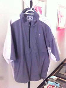 Men's Under Armour golf shirt / jacket - grey and white - XL